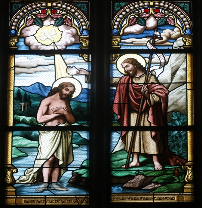 Jesus and John stain glass